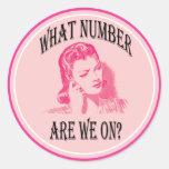 ¿qué número estamos encendido? pegatina redonda