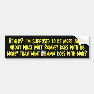 Qué Obama hace con mi dinero Pegatina De Parachoque