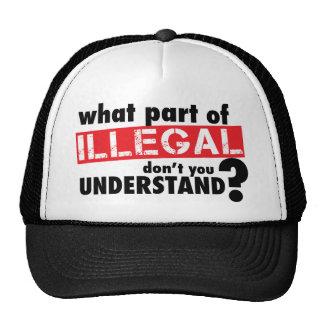 Qué parte de ilegal usted no entiende gorros bordados