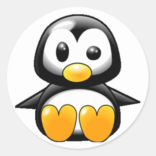 Qué pingüino pegatina redonda