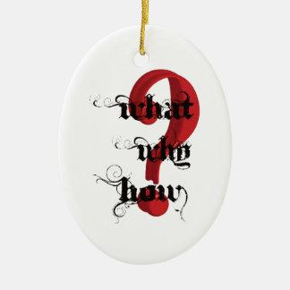 qué porqué cómo vintage del signo de interrogación adorno navideño ovalado de cerámica