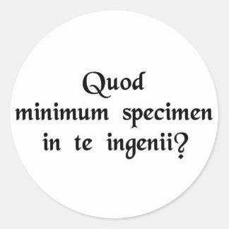 ¿Qué pruebas minúsculas del ingenio se pueden Pegatina Redonda