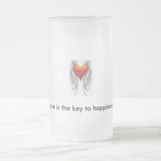 qué quiero, el amor es la llave a la felicidad taza de cristal