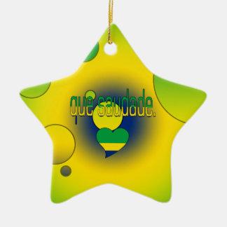 ¡Que Saudade! La bandera del Brasil colorea arte Adorno De Cerámica En Forma De Estrella