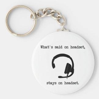 Qué se dice en las auriculares, permanece en las a llavero redondo tipo pin