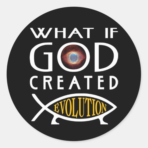 Qué si dios creó la evolución etiqueta redonda