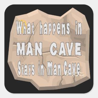 Qué sucede en estancias de la cueva del hombre en pegatina cuadrada