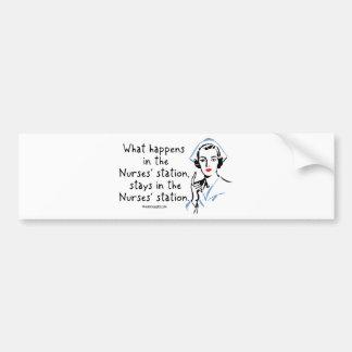 Qué sucede en la estación de las enfermeras pegatina de parachoque