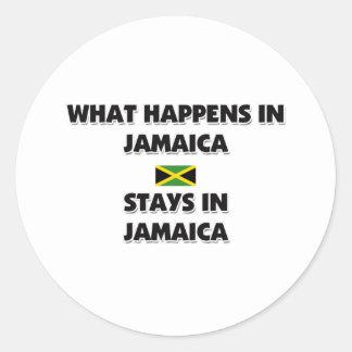 Qué sucede en las estancias de JAMAICA allí Pegatina Redonda