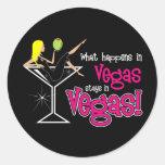 ¡Qué sucede en las estancias de Vegas en Vegas! Pegatina Redonda