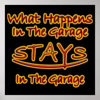 Qué sucede en las estancias del garaje brillantes póster