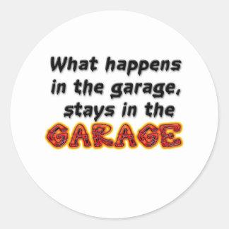 Qué sucede en las estancias del garaje en el pegatina redonda