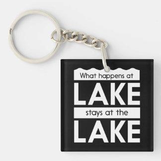 Qué sucede en las estancias del lago en el lago llavero cuadrado acrílico a una cara