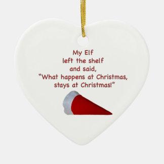 Qué sucede en las estancias del navidad en el adorno navideño de cerámica en forma de corazón