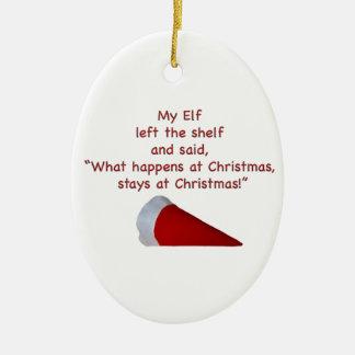 Qué sucede en las estancias del navidad en el adorno navideño ovalado de cerámica