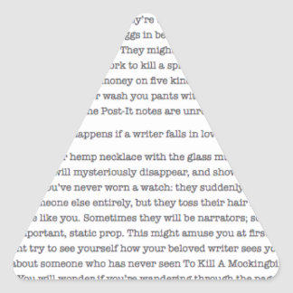 ¿Qué sucede si usted cae en amor con un escritor? Pegatina Triangular