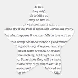 ¿Qué sucede si usted cae en amor con un escritor? Pegatina En Forma De Estrella