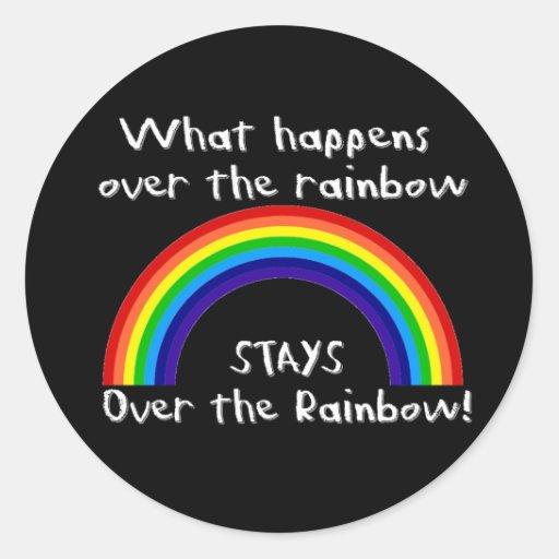 Qué sucede sobre el arco iris… pegatina redonda
