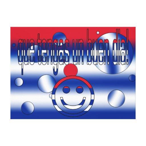 Que Tengas un Buen Día! Cuba Flag Colors Pop Art Canvas Print