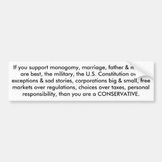 que usted es un conservador pegatina de parachoque