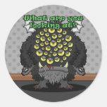¿Qué usted está mirando? (Monstruo negro) Etiqueta Redonda