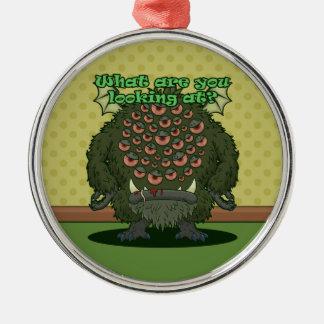 ¿Qué usted está mirando? (Monstruo verde) Adorno Navideño Redondo De Metal