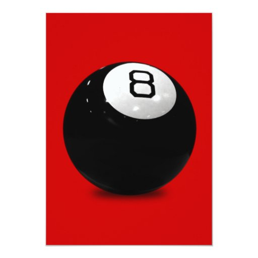 QUEBALL POOL GAME SPORTS FUN ICON LOGO BLACK WHIT 5X7 PAPER INVITATION CARD