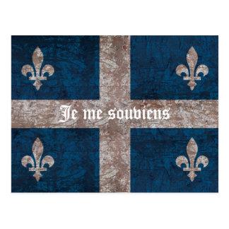 Quebec - bandera del grunge con lema - aspecto clá tarjetas postales