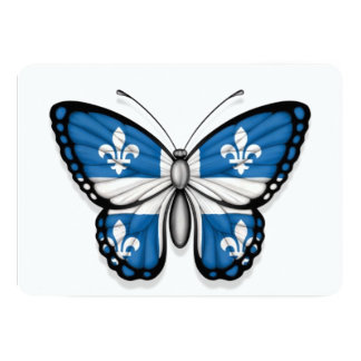 Quebec Butterfly Flag 5x7 Paper Invitation Card