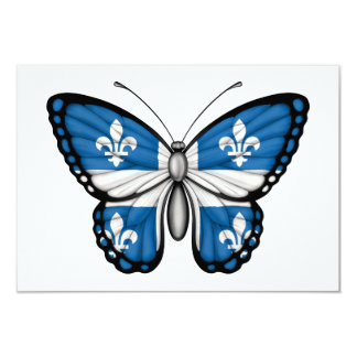 Quebec Butterfly Flag 3.5x5 Paper Invitation Card