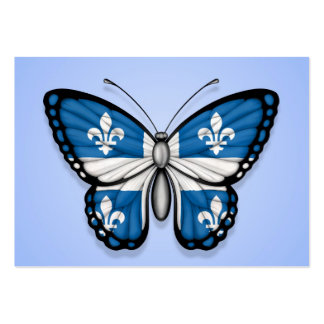 Quebec Butterfly Flag on Blue Business Card Templates