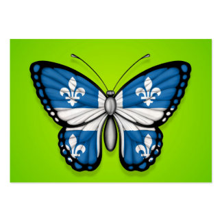 Quebec Butterfly Flag on Green Business Card Templates