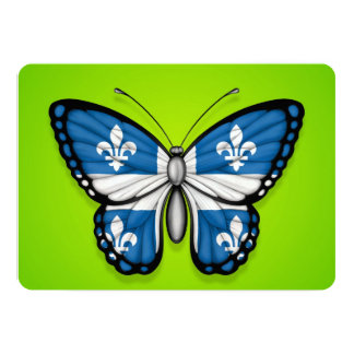 Quebec Butterfly Flag on Green 5x7 Paper Invitation Card