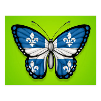 Quebec Butterfly Flag on Green Postcard