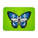 Quebec Butterfly Flag on Green Rectangular Photo Magnet