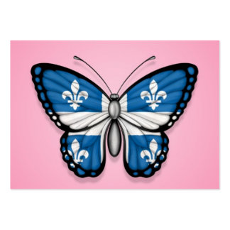 Quebec Butterfly Flag on Pink Business Card