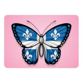 Quebec Butterfly Flag on Pink 5x7 Paper Invitation Card