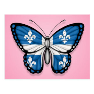 Quebec Butterfly Flag on Pink Postcard