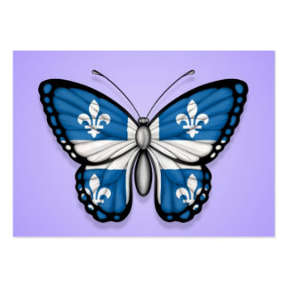 Quebec Butterfly Flag on Purple Business Card Templates