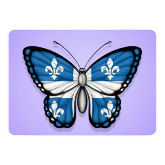 Quebec Butterfly Flag on Purple 5x7 Paper Invitation Card