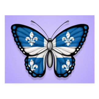 Quebec Butterfly Flag on Purple Postcard