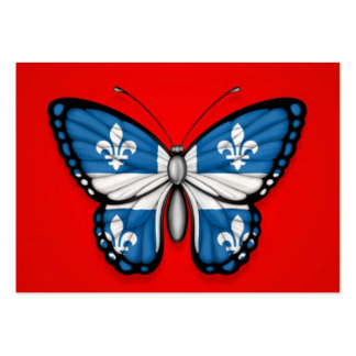 Quebec Butterfly Flag on Red Business Card