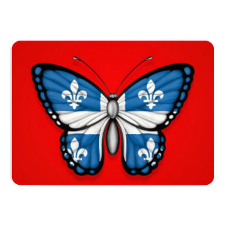 Quebec Butterfly Flag on Red 5x7 Paper Invitation Card