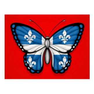 Quebec Butterfly Flag on Red Postcard