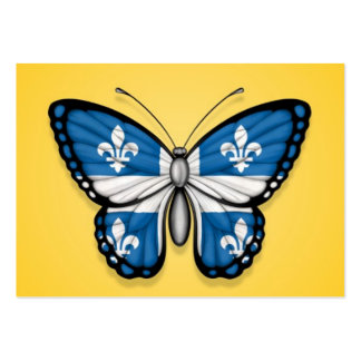 Quebec Butterfly Flag on Yellow Business Card Templates