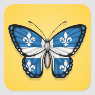 Quebec Butterfly Flag on Yellow Square Sticker