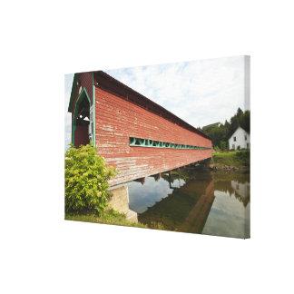 Quebec, Canada. Galipeault covered bridge in Canvas Print