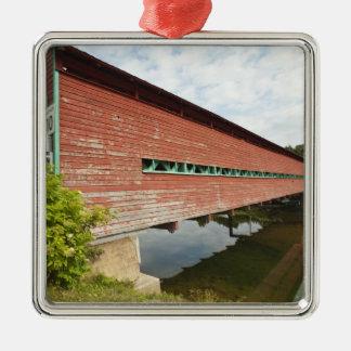 Quebec, Canada. Galipeault covered bridge in Square Metal Christmas Ornament