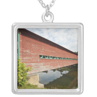 Quebec, Canada. Galipeault covered bridge in Silver Plated Necklace