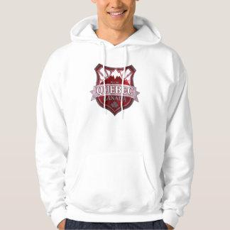 Quebec Canada red grunge shield guys hoodie